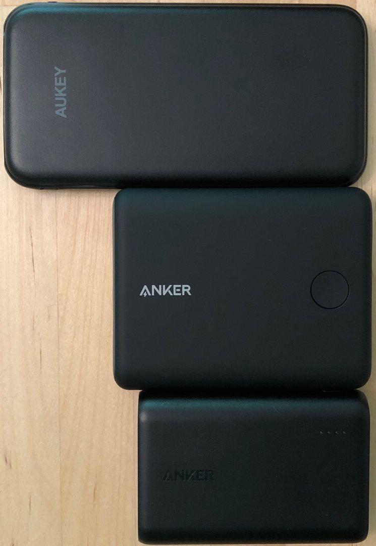 De arriba a abajo: AUKEY PB-Y13 10000 USB-C, Anker PowerCore 13400 Nintendo Switch Edition, Anker PowerCore 10000