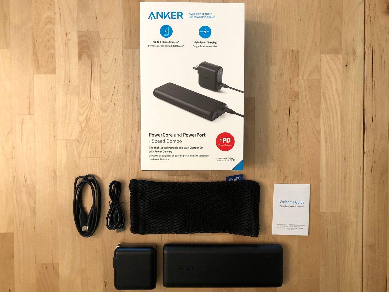 Caja y contenido de Anker PowerCore Speed 20000 PD