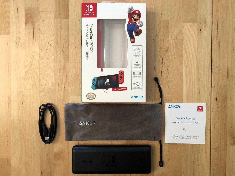 Cuadro y contenido de Anker PowerCore 20100 Nintendo Switch Edition.