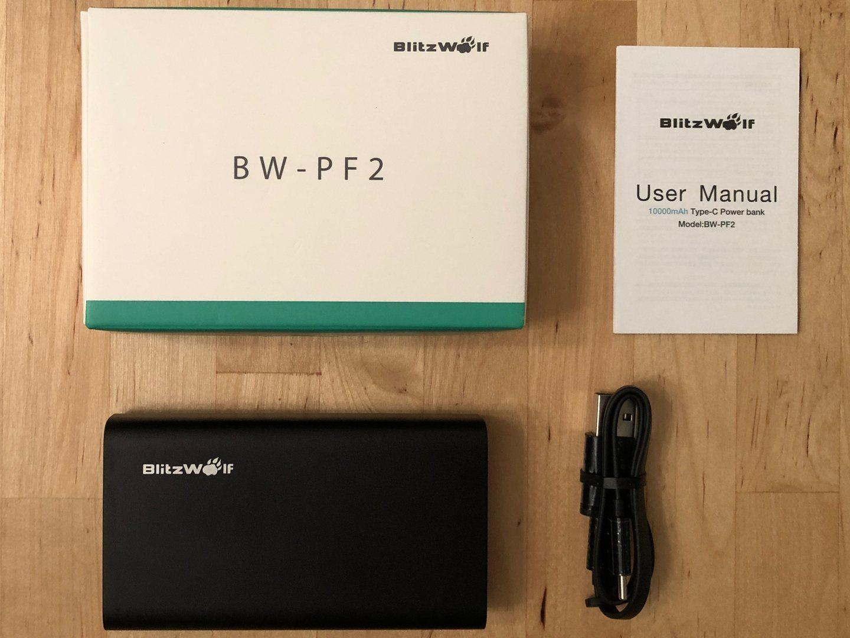 BlitzWolf BW-PF2 caja y contenidos.