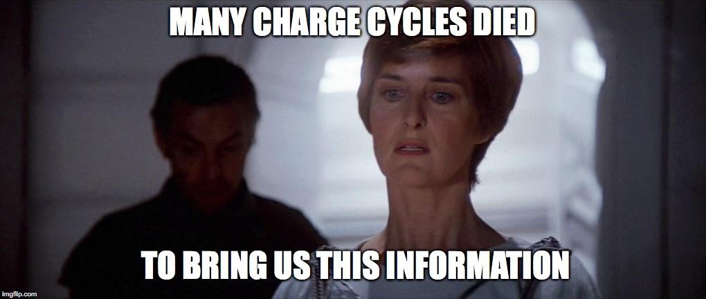 Muchos ciclos de carga murieron para traernos esta información.