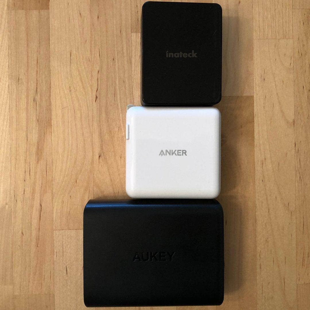 De arriba a abajo: Inateck 45W 3-Port USB-C, Anker PowerPort II PD, AUKEY PA-Y13.