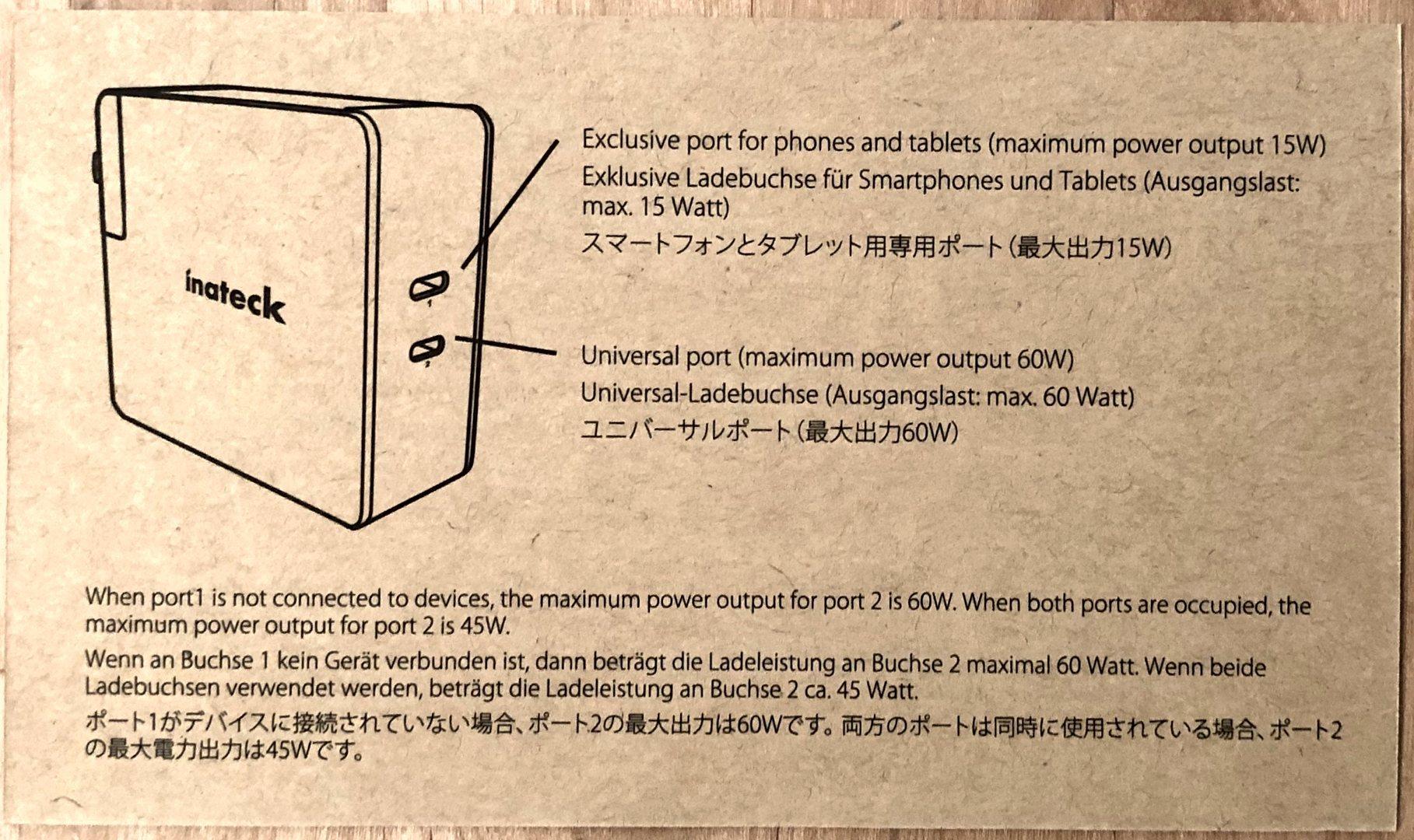 En el cargador 60W PD de Inateck con doble tarjeta de referencia de puertos USB-C.