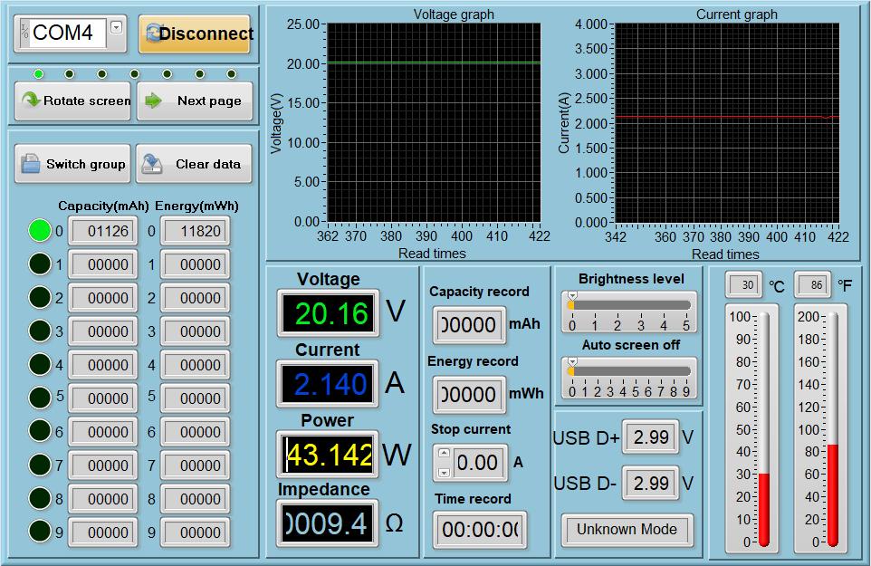 Lecturas del medidor de potencia - MacBook Pro, modo 45W