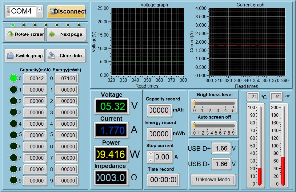 Lecturas del medidor de potencia - Puerto 1 - Dormido