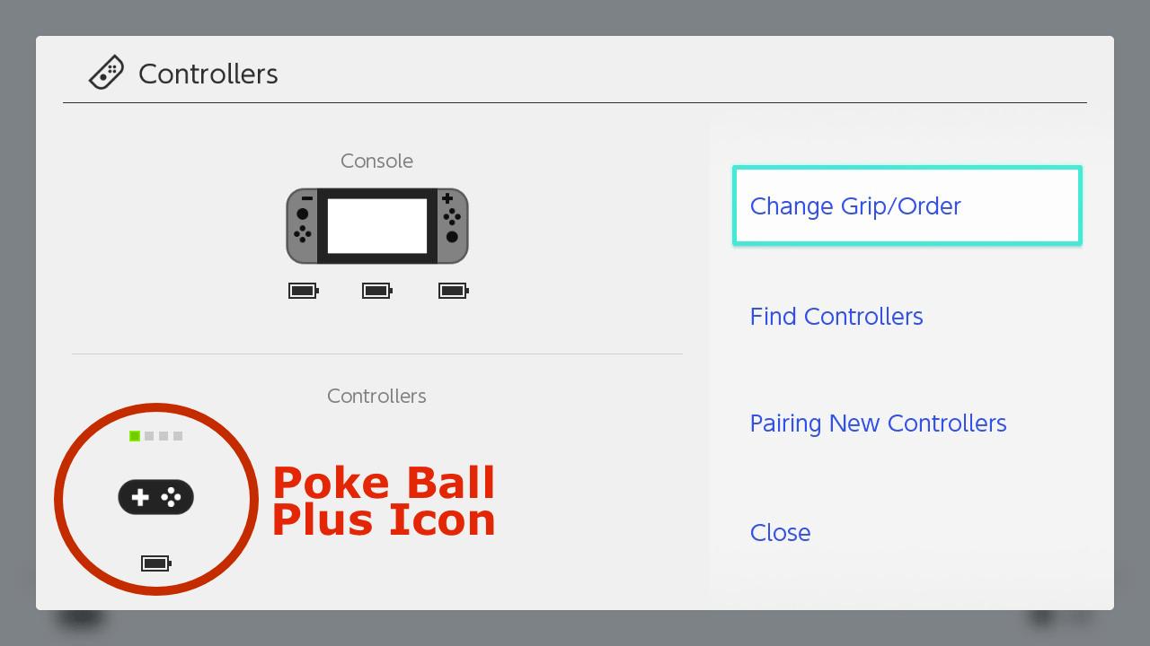 Icono de Poke Ball Plus, bajo la configuración del controlador.